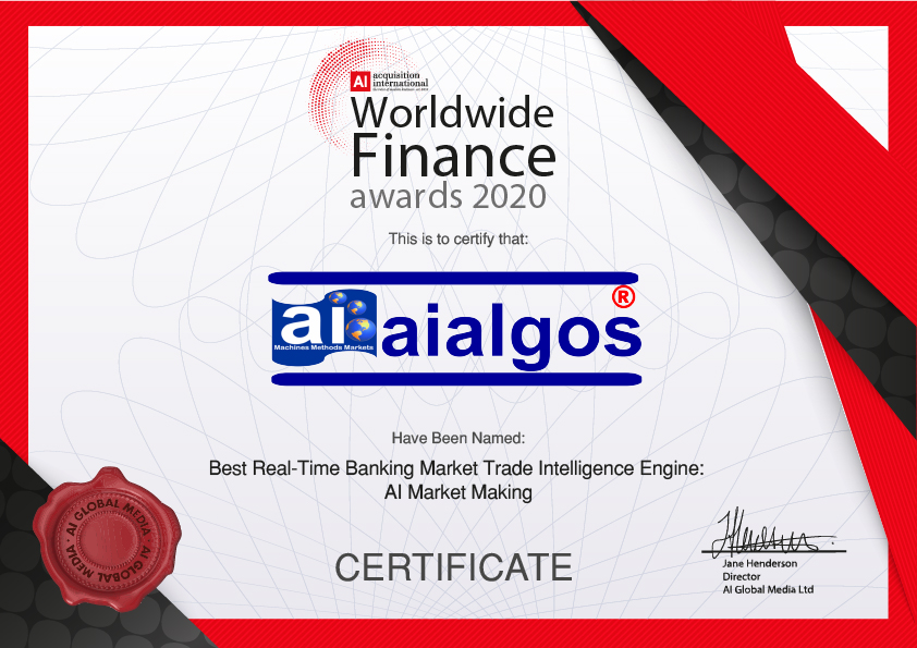 2020 Worldwide Finance Awards Winners Certificate